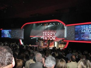 Terry Fator Saluting Audience at End of First Show at Mirage