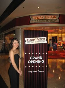 Sign Girl for Terry Fator Grand Opening